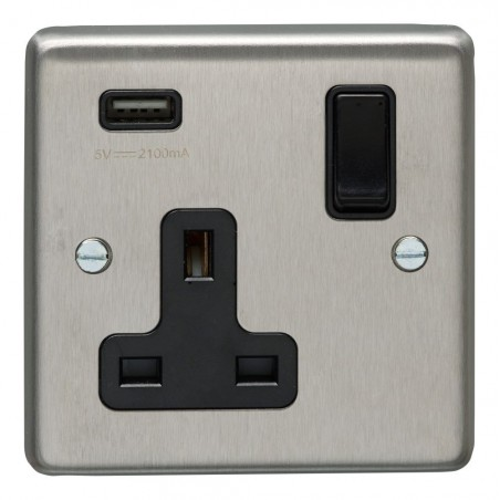 Eurolite SSS1USBB 13A 1 Gang Round Edge Satin Stainless Steel/Brushed Chrome Switched Socket With 2.1 A USB Outlet