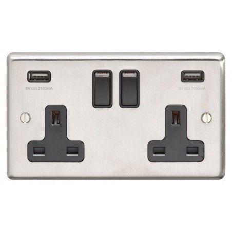Eurolite SSS2USBB 13A 2 Gang Round Edge Satin Stainless Steel/Brushed Chrome Switched Socket With Combined 4.8 A USB Outlets