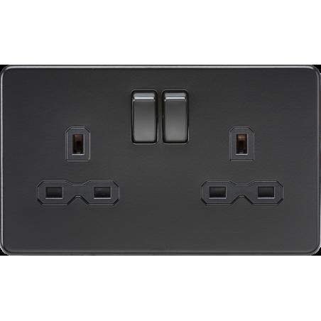 Knightsbridge SFR9000MBB screwless matt black 2 gang switched socket