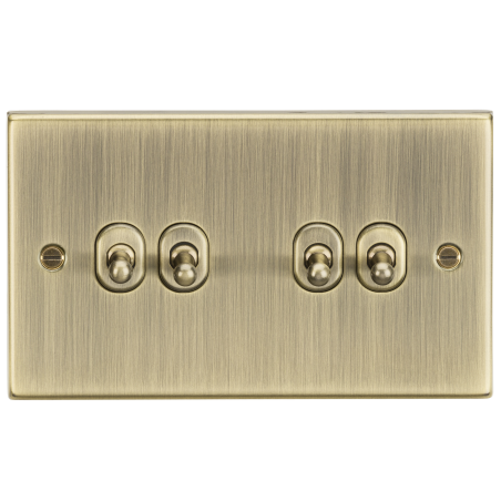 Knightsbridge CSTOG4AB 10AX 4G 2 Way Toggle Switch - Square Edge Antique Brass