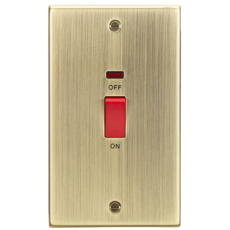 Knightsbridge CS82NAB 45A DP Switch with Neon (double size) - Square Edge Antique Brass