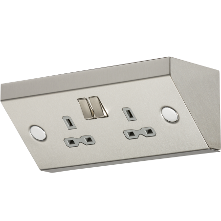 Knightsbridge SKR008 13A 2G Mounting DP Switched Socket - Stainless Steel with grey insert