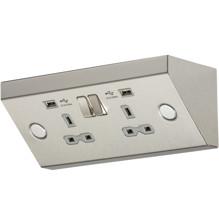 Knightsbridge SKR009A 13A 2G Mounting Switched Socket with Dual USB Charger (2.4A) - Stainless Steel with grey insert