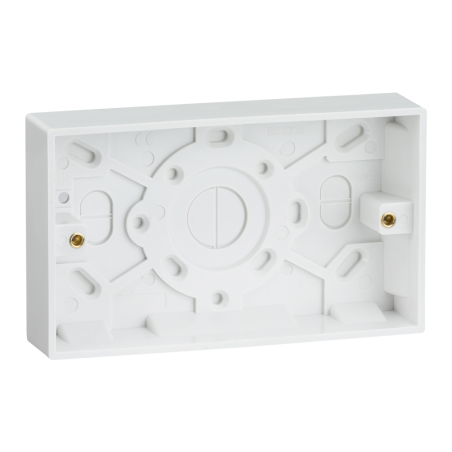 Knightsbridge SN1500 2 Gang 25mm Double Surface Pattress Back Box White