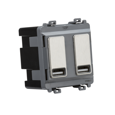Knightsbridge GDM016BC Dual USB charger module (2 x grid positions) 5V 2.4A (shared) - brushed chrome