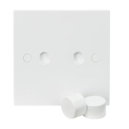 Knightsbridge SN2DIM 1G Plate with 2 x Dimmer Caps