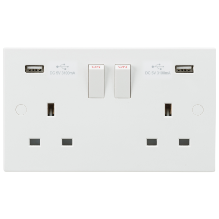 Knightsbridge SN9904 13A 2G Switched Socket with Dual USB Charger 5V DC 3.1A