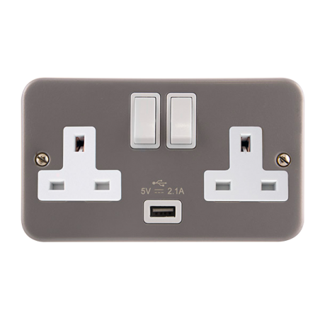 Click CL770 Switched Socket 2G 13A & USB